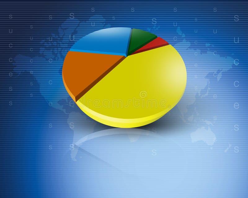 Blau des Weltdiagramm-Geschäfts weltweit stock abbildung