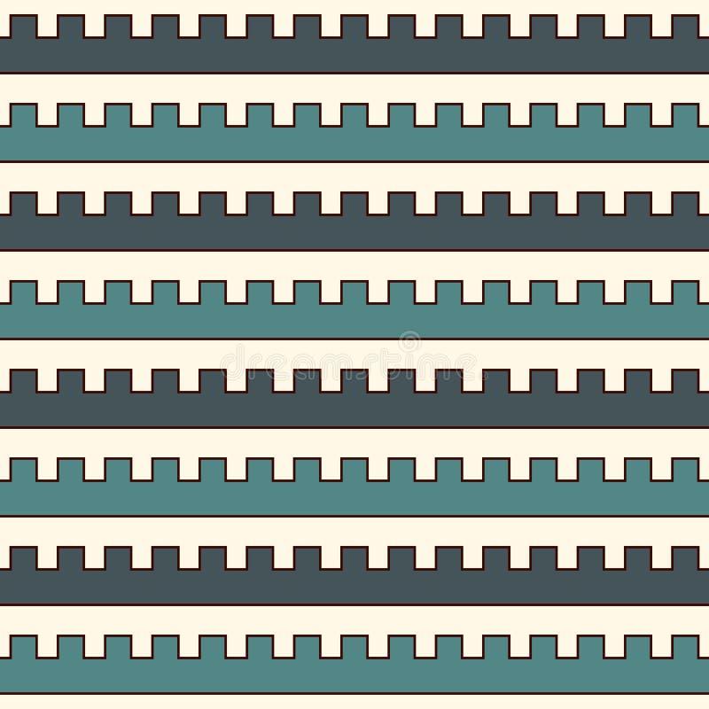 Blau färbt nahtloses Muster mit Zinnengekrümmten linien Wiederholte geometrische Zahlen Tapete Moderne Oberfläche lizenzfreie abbildung