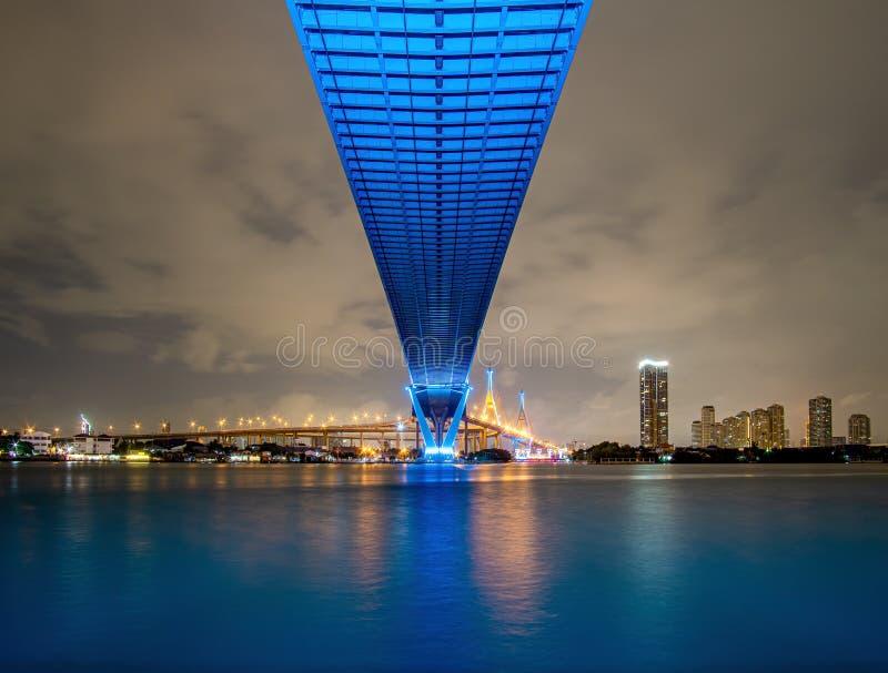 Blau führte Licht unter der Brücke über dem Fluss an einem bewölkten Tag im Himmel Bhumibol-Brücke, Samut Prakan, Thailand lizenzfreies stockbild