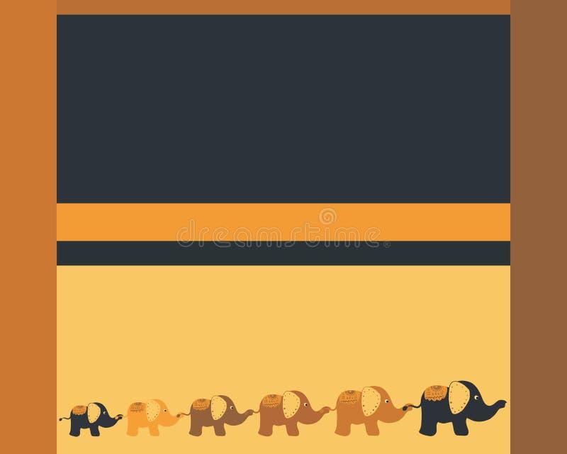 Blau-gelber Hintergrund mit den lustigen Elefanten, die zusammen gehen stock abbildung