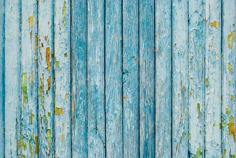 Blau gemalter alter Bretterzaun lizenzfreie stockbilder