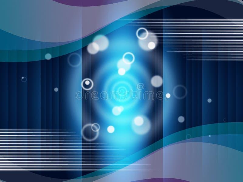 Blau kreist Hintergrund-Durchschnitt-Blasen und Curvy Linien ein stock abbildung