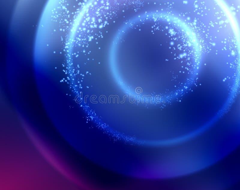 Blau kreist Weihnachtshintergrundbeschaffenheit mit den Sternen ein, die von oben fallen stockfoto
