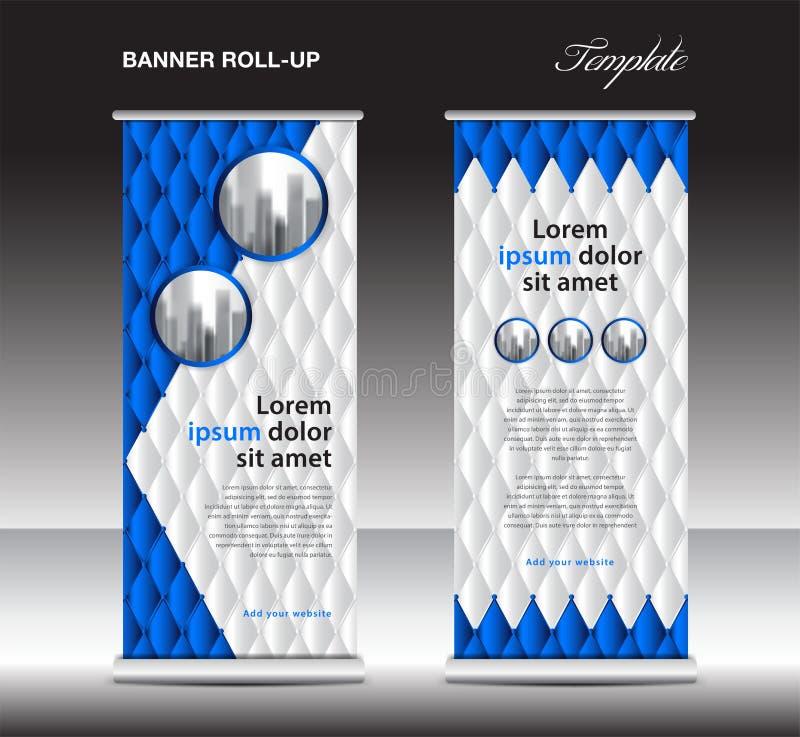 Blau rollen Sie oben Fahnenschablonenvektor, Anzeige, Xfahne, Plakat, hochziehen Entwurf, Anzeige, Plan, Geschäftsflieger, Netzfa vektor abbildung