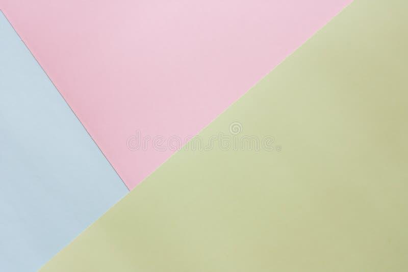 Blau, Rosa und grünes farbiges Pastellpapier stockfoto