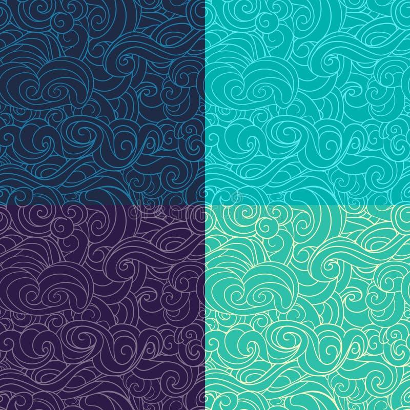 Blau, Smaragd und violettes wellenartig bewegendes dunkles Purpur der Locken stock abbildung