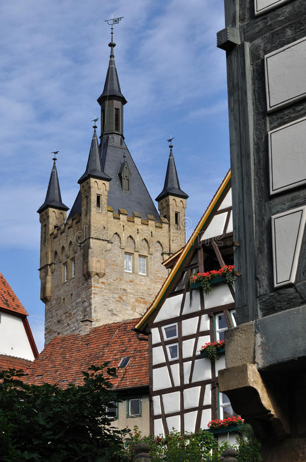 Blau turm , bad wimpfen. Ancient medieval tower and old wattle house in city center royalty free stock photography
