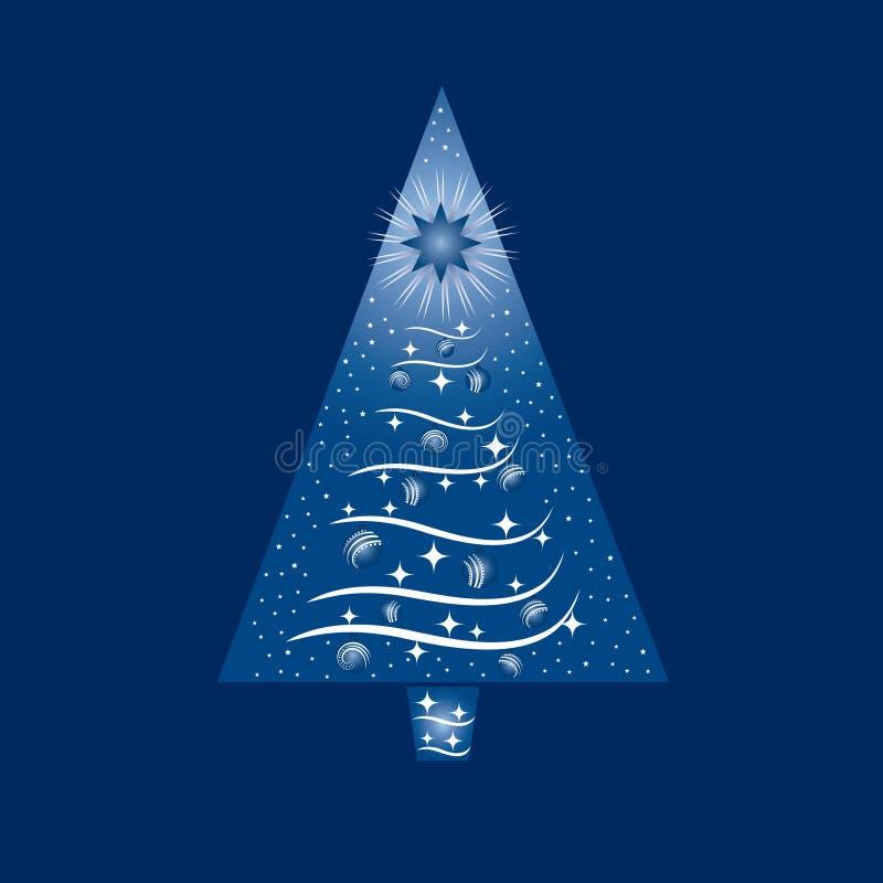 Blau und Baum-Gruß-Karte der weißen Weihnacht stock abbildung