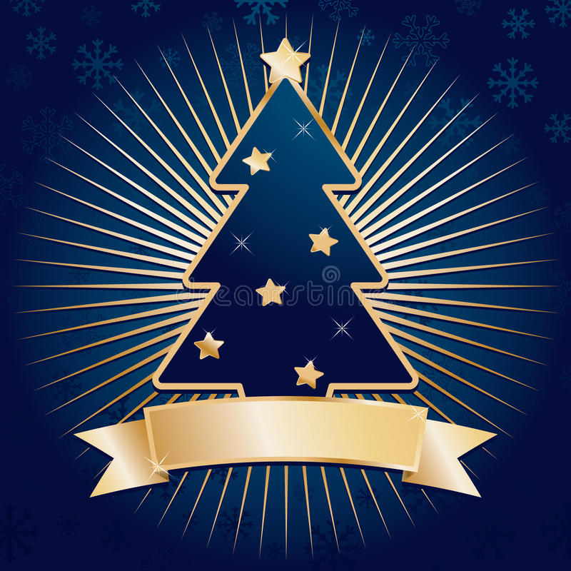 Blau- und Goldweihnachten lizenzfreie abbildung