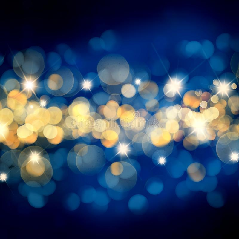 Blau-und Goldweihnachtshintergrund mit bokeh Lichtern und Sternen stock abbildung