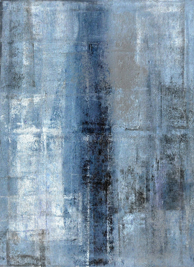 Blau und Grey Abstract Art Painting stock abbildung