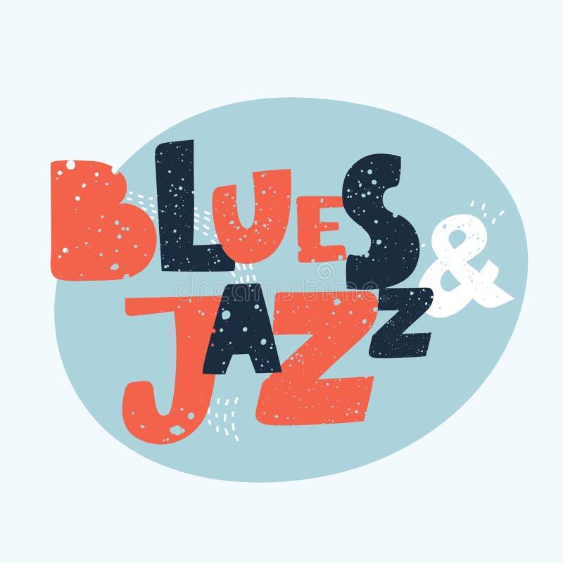 Blau- und Jazzmusik - übergeben Sie gezogenes Musikbeschriftungszitat stock abbildung