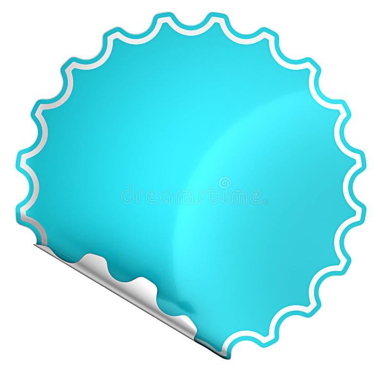 Blau verbogen ringsum Aufkleber oder Aufkleber vektor abbildung