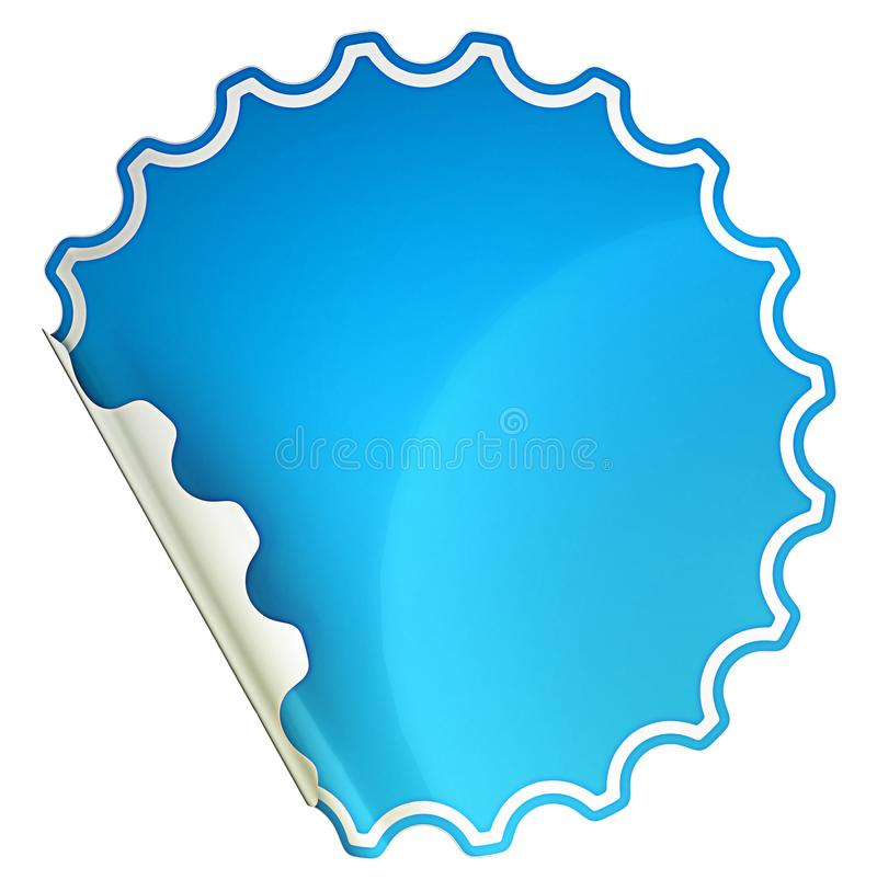 Blau verbogen ringsum Aufkleber oder Aufkleber stock abbildung