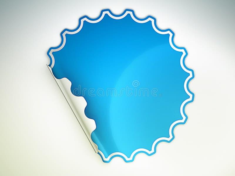 Blau verbogen ringsum Aufkleber oder Aufkleber lizenzfreie abbildung