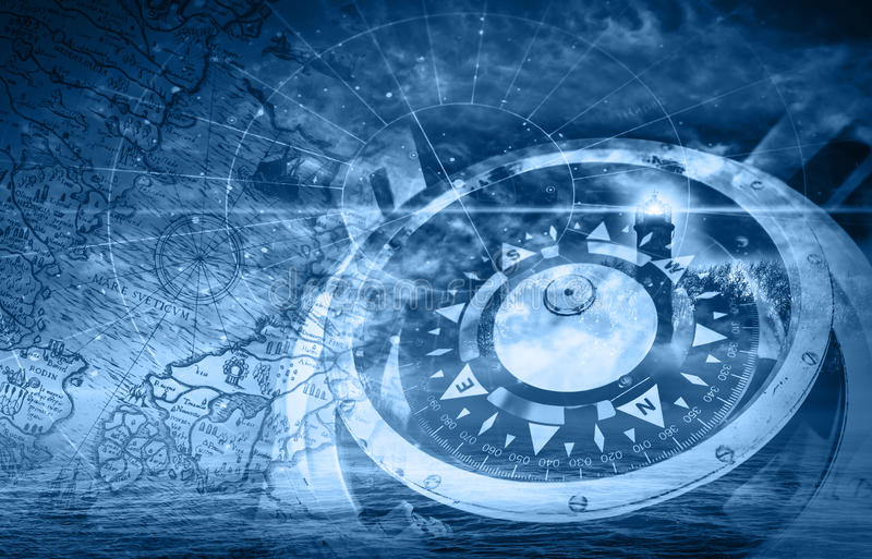 Blau versendet Navigationsillustration mit Kompass lizenzfreie abbildung