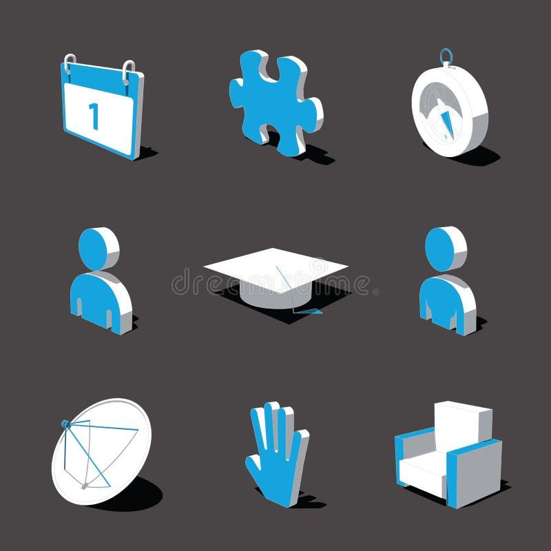 Blau-weiße Ikone 3D stellte 05 ein vektor abbildung
