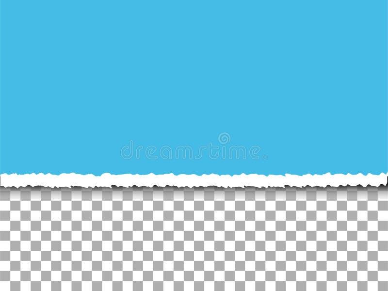 Blau zerrissenes Papier auf Transparenzhintergrund stockbild