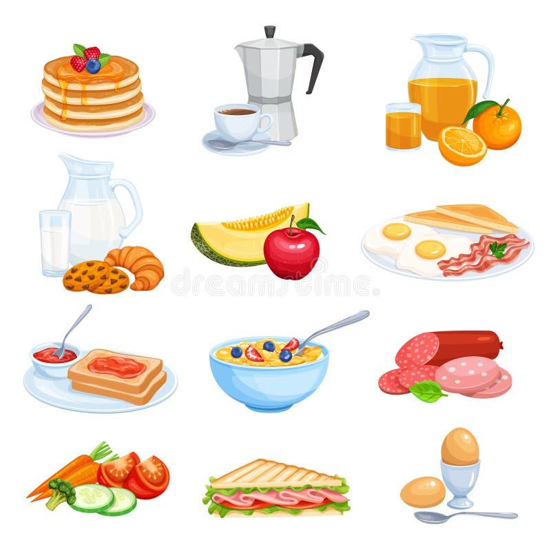 Blaubeere Smoothie, Pfannkuchen, Waffeln, Getreide mit Joghurt, Milch stock abbildung
