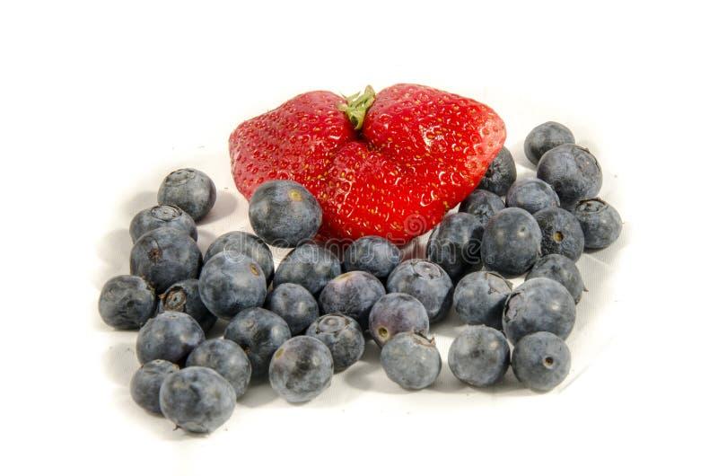 Blaubeeren-` s mit einer Erdbeere, die zusammen einstellt stockbilder