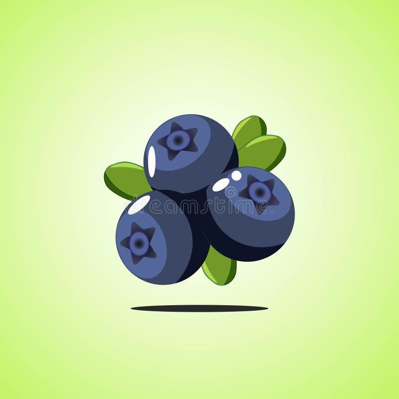 Blaubeerikone lokalisiert auf grünem Hintergrund Bunte Karikaturfruchtikone stock abbildung