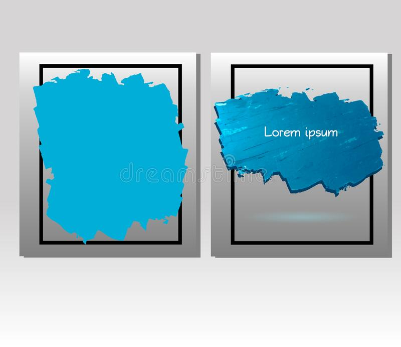 Blaue Ölfarbe-Vektorstelle mit Rahmen lizenzfreie abbildung