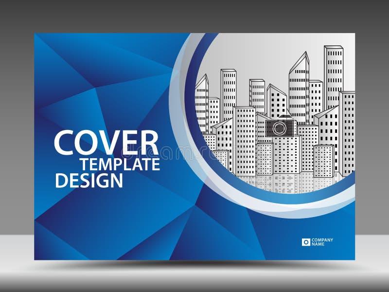 Blaue Abdeckung Schablone für Geschäftsindustrie, Real Estate, Gebäude, Haus, Maschinerie Horizontale Gliederung, Broschürenflieg lizenzfreie abbildung
