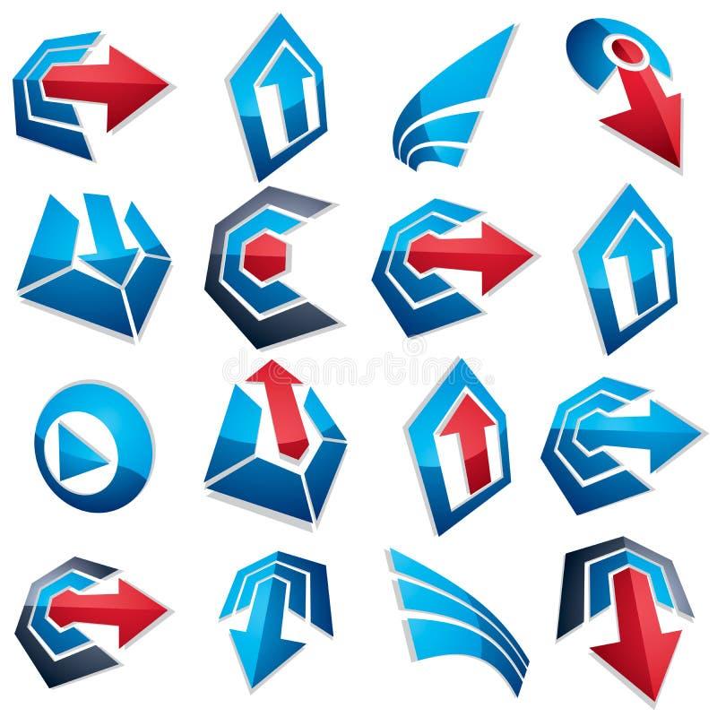 blaue abstrakte Formen des Vektors 3d, verschiedene Geschäftsikonen und DES lizenzfreie abbildung