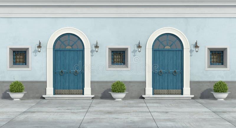 Blaue alte Fassade lizenzfreie abbildung