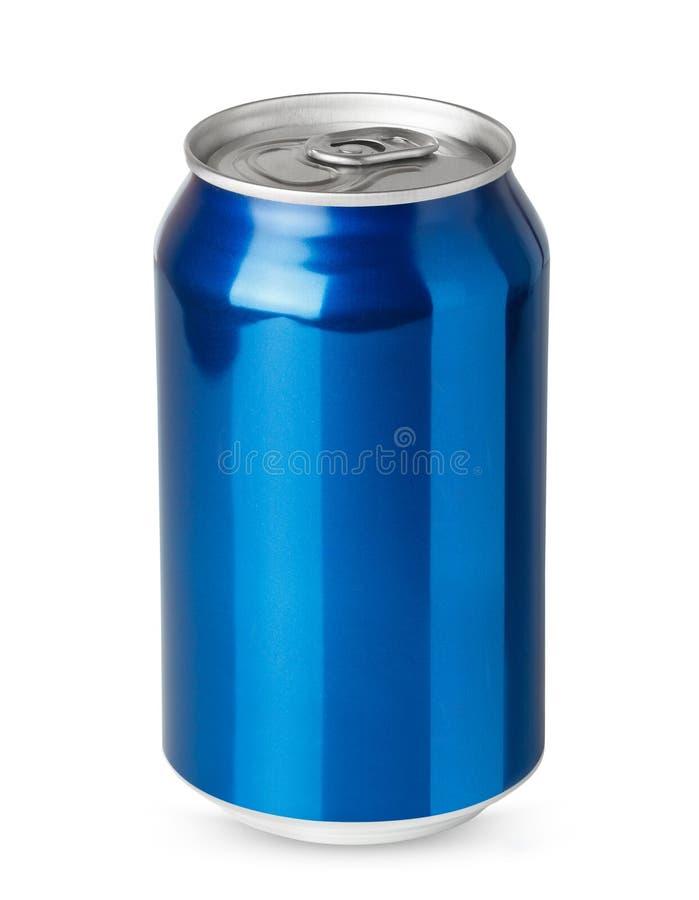 Blaue Aluminiumdose lokalisiert stockfotos