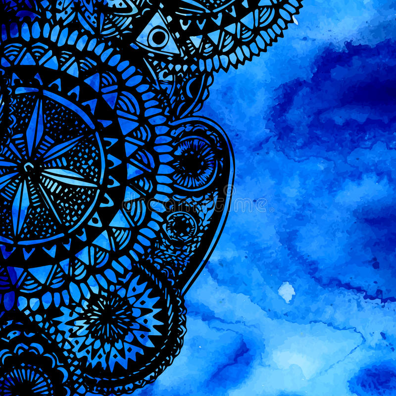 Blaue Aquarellbürstenanschläge mit der schwarzen Hand vektor abbildung