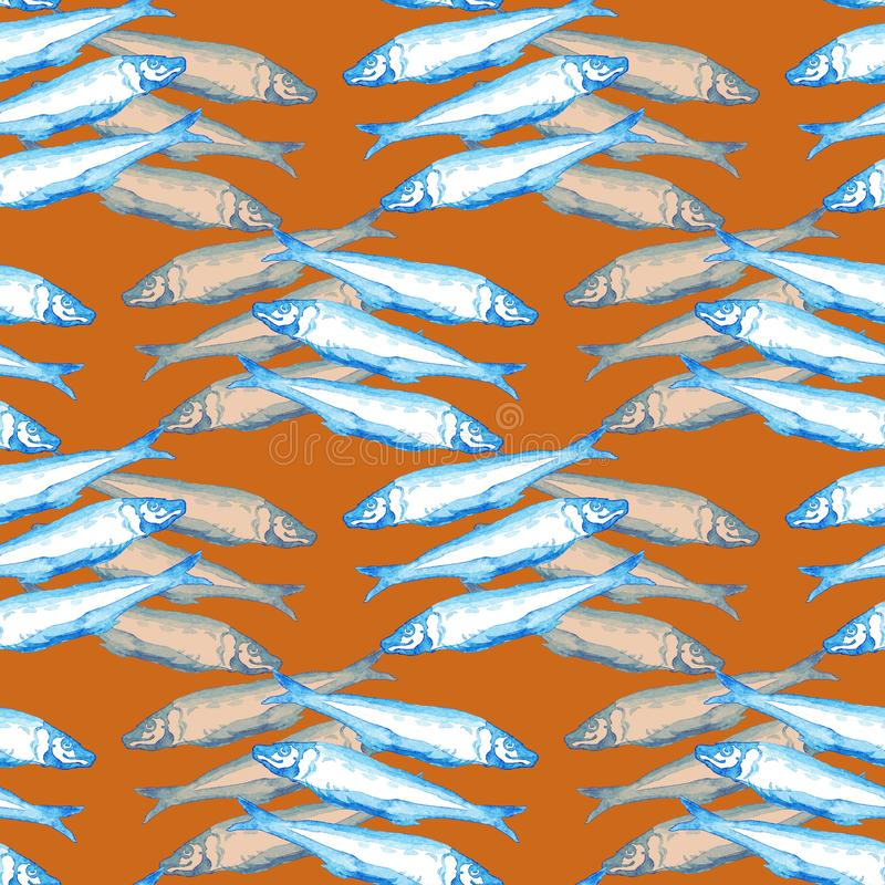 Blaue Aquarellillustration des Handgezogenen nahtlosen Marinemusters ein Gruppe atlantische Makrelenfische auf orange Hintergrund lizenzfreie abbildung