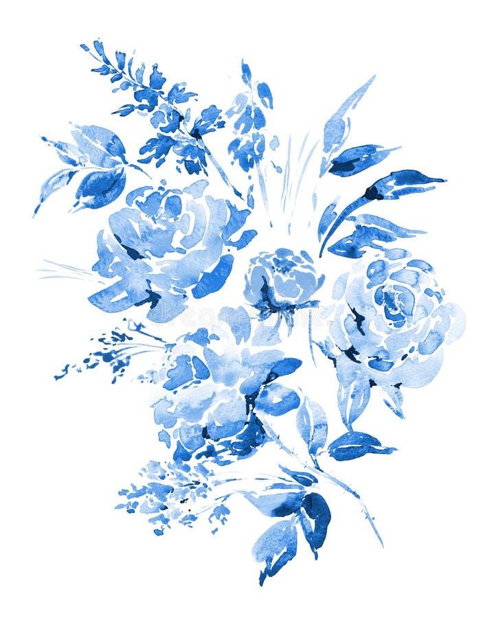 Blaue Aquarellrosen - Blumen, Zweige, Blätter, Knospen lizenzfreie abbildung