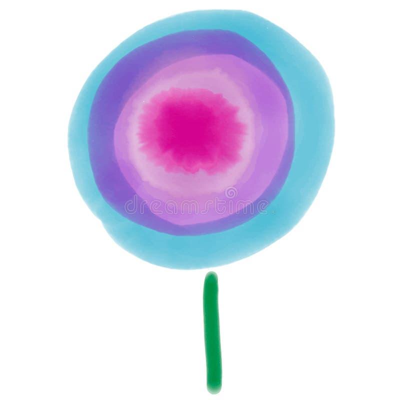 Blaue Aquarellzeichnung, Blume, Zeichnung lizenzfreie abbildung