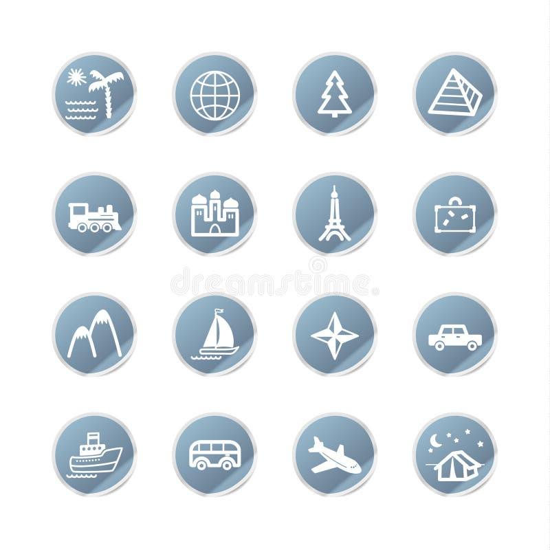 Blaue Aufkleberreisenikonen lizenzfreie abbildung