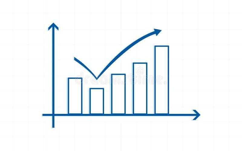 Blaue Aufwärtstrendlinie Pfeile mit Balkendiagramm in der flachen Ikone entwerfen auf weißem Farbhintergrund vektor abbildung