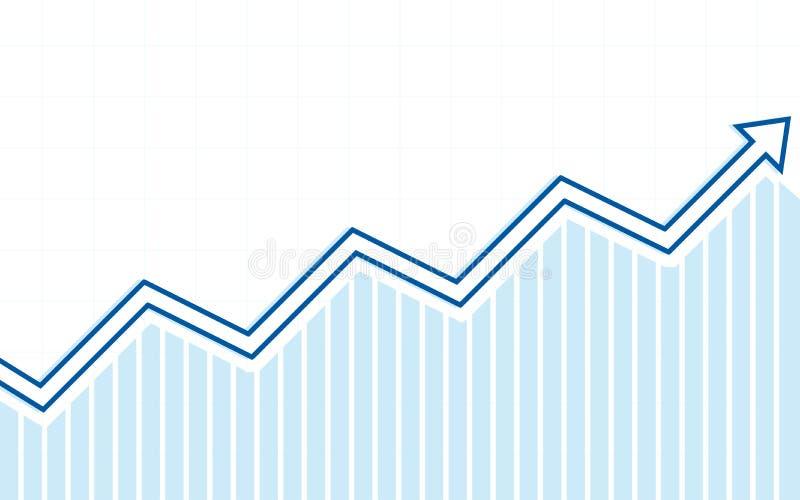 Blaue Aufwärtstrendlinie Pfeile mit Balkendiagramm in der flachen Ikone entwerfen auf weißem Farbhintergrund stock abbildung
