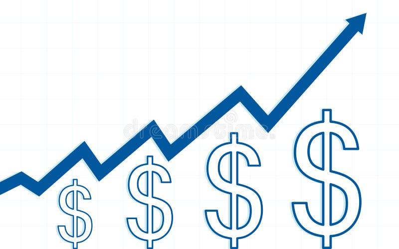 Blaue Aufwärtstrendlinie Pfeile mit Dollar unterzeichnen herein flaches Ikonendesign auf weißem Farbhintergrund vektor abbildung