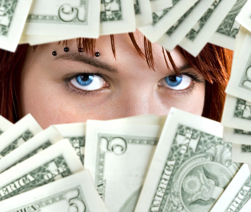Blaue Augen des Dollars lizenzfreies stockbild