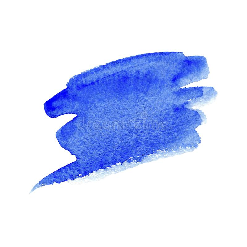 Blaue Bürstenanschläge des Handgezogenen Aquarells mit rauem Rand auf weißem Hintergrund vektor abbildung