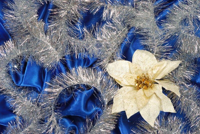 Blaue Baumwollsatindekoration stockfoto
