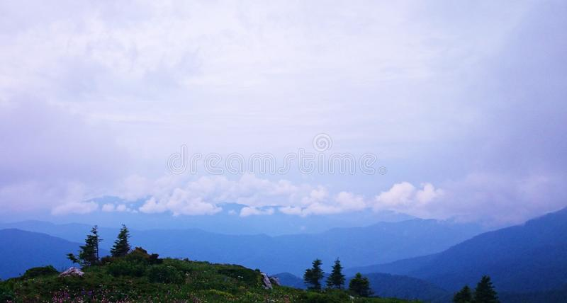 Blaue Berge in den Wolken stockfotos