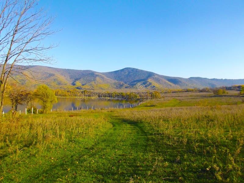 Blaue Berge und See stockfotografie