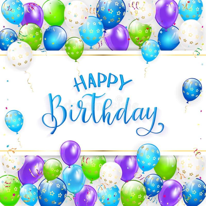 Blaue Beschriftung alles Gute zum Geburtstag mit Ballonen und Ausläufern stock abbildung