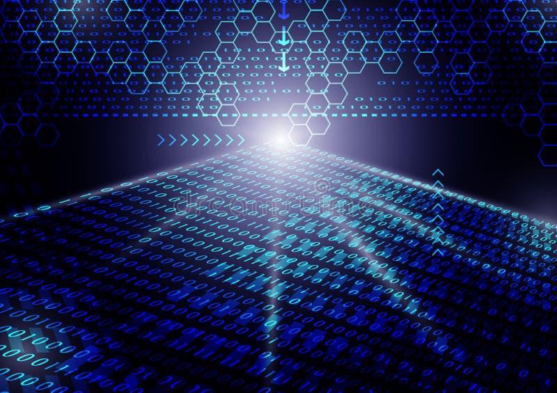 Blaue binär Code-Zusammenfassungshintergrund-Vektorillustration stock abbildung
