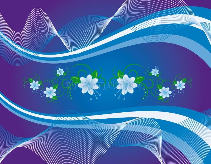 Blaue Blumen auf abstraktem Hintergrund stock abbildung