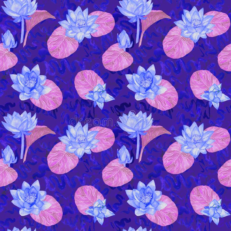 Blaue Blumen Lotuss und Purpurblätter und gelockte Wasserwellen, nahtloses Musterdesign, handgemaltes Aquarell auf dunkelblauem lizenzfreie abbildung