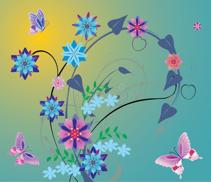 Blaue Blumen und rosafarbene Basisrecheneinheiten stock abbildung