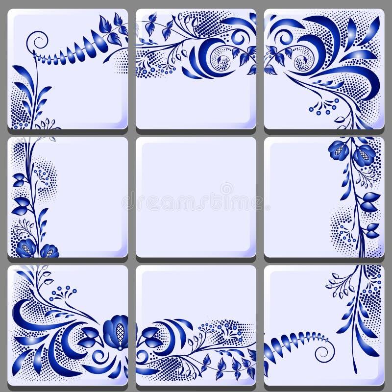 Blaue Blumenzeichnung auf Keramikziegel auf nationalen Motiven lizenzfreie abbildung