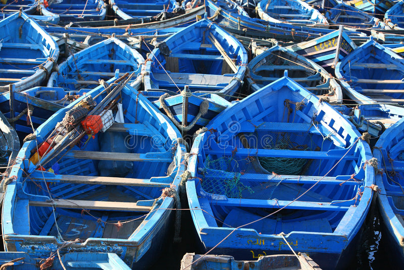 Blaue Boote stockfotos
